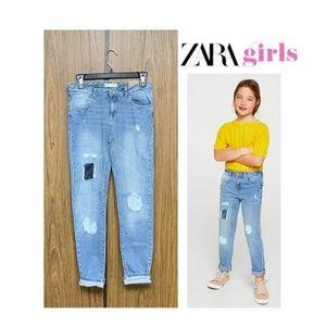 NEW Zara Girls Tonal Patch Slim Jeans 13/14